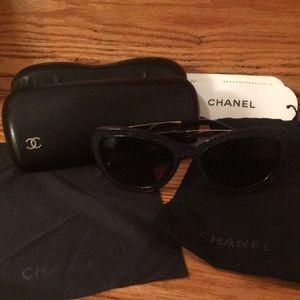 Authentic Chanel polarized black sunglasses